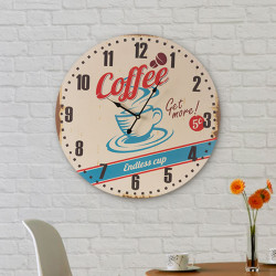 Vintage Coconut Coffee Cup Wall Clock